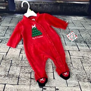 Little Me 1st Christmas Red Velour Footed Outfit